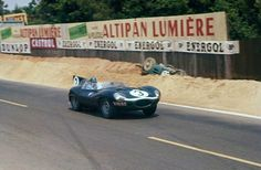 The victorious Ron Flockhart/Ivor Bueb team Ecurie Ecosse 'D Type' Jaguar during the 1957 Le Mans 24 Hours, it was the third and last win for the fabulous D-type Jaguar. Jaguar Type, Jaguar Xk, Jaguar Cars, Sports Car Racing, Sport Cars, Auto Racing, Motor Sport, Classic Sports Cars, Classic Cars