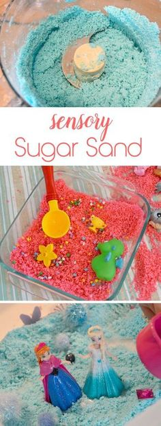 Fun sensory sugar sand for kids! You can make this preschool activity with stuff from your kitchen.