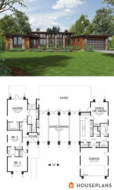 Warm, modern house plan and front elevation. 2557 sft Plan - Warm, modern house plan and front elevation. 2557 sft Plan Informations About Warm, modern h - Modern House Floor Plans, Contemporary House Plans, Dream House Plans, Modern House Design, Modern Lake House, Contemporary Style, The Plan, How To Plan, Plan Plan