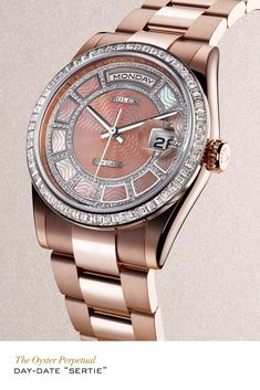 """Rolex Day-Date """"Sertie"""" in Everose gold with a bezel set with baguette-cut diamonds, a diamond-set pink mother-of-pearl carousel dial and Oyster bracelet. #RolexOfficial For more information regarding this timepiece, please be sure to visit http://www.cdpeacock.com/."""