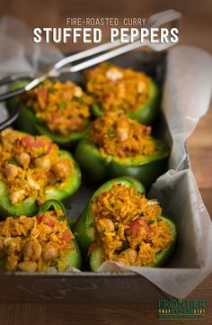 This grilled version of stuffed peppers brings the flavor, combining spicy curry and cooling feta with brown rice, tomatoes and chickpeas.