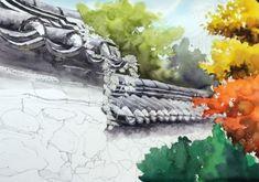 [풍경수채화] 고궁의 가을 (공생) - 수채화 과정 : 네이버 블로그 Sci Fi, Watercolor, Abstract, Artwork, Blog, Painting, Art Ideas, Watercolor Painting, Pen And Wash
