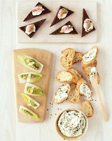Smoked trout is a wonderful holiday staple, give it a try in this trio of elegant and easy canapes and spreads; with avocado mousse on endive; combined with creme fraiche and pickled onions; or blended with cream cheese and shallots for a simple pate. Baby Shower Appetizers, Appetizers For Party, Appetizer Recipes, Dinner Parties, Salmon Appetizer, Vegetarian Appetizers, Appetizer Ideas, Holiday Parties, Easy Canapes