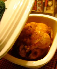 Easy chicken recipe. Deep covered baker pampered chef. 30 mins in microwave for 3-4 pound chicken.