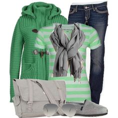 color combo only - kelly green & light to medium gray