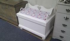 Handmade toy box with seat.