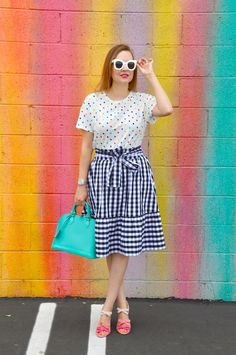 Hello Katie Girl: Making a Splash in Gingham Mixing Patterns, Mixing Prints, Fashion Advice, Fashion Styles, Plaid And Leopard, Gingham Skirt, Fashion Prints, Get Dressed, Outfit Sets