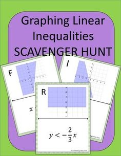 Graphing Linear Inequalities Scavenger Hunt: Students practice graphing linear inequalities.  Instead of just sitting at their seats doing a worksheet, they can be up moving around the room!