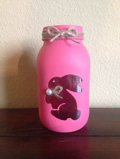 Shabby Chic Easter Mason Jar on Etsy, $5.00