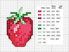 Strawberry hama perler pattern http://www.pinterest.com/RuthPolarBear/free-cross-stitch-hama-perler-beads-embroidery/