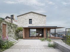 This house was refurbished from an old barn in Estorde by Dom Arquitectura with the ideas was to maintain the whole exterior keeping the stone facades as interior. Reforma Exterior, Facade Design, House Design, Casa Patio, Surf House, Stone Facade, Stone Houses, Facade House, House Facades