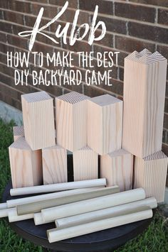 How to make a DIY Backyard Game the best giant yard party game, Kubb! Also called Viking Chess or Skulls and Femurs, this simple game will change your summer game nights outside with friends. It's a perfect game for adults or kids. This lawn game is easy to make and easy to play. Your family and friends will love it! - How to Play Kubb + Make Your Own - A DIY Giant Backyard Game http://ourhandcraftedlife.com/play-kubb-diy-backyard-game/