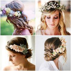 Peinados para novias modernos con tiaras con flores súper delicadas Floral Wedding Hair, Flower Crown Wedding, Floral Hair, Floral Crown, Bridal Hair, Wedding Dresses, Bride Hairstyles, Pretty Hairstyles, Boho Chic