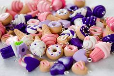 Pink & Purple Food Charms Set of 20 by Emariecreations on Etsy