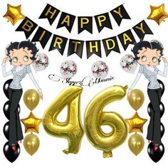 Betty Boop Happy 46th BirthDay, Happy 46th BirthDay Betty Boop Birthday, Spice Mixes, Minnie Mouse, Disney Characters, Happy, Spice Blends, Ser Feliz, Seasoning Mixes, Being Happy
