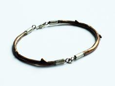 bransoleta - gałązka z brązu i srebra w patchu na DaWanda.com