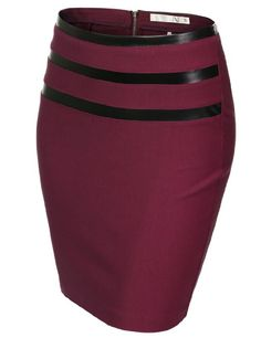 .TOMSON Womens Jersey Pencil Skirt With 3 Pleather Line Detail