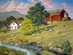'Good Old Summertime' by John Sloane - Down on the Farm . Arte Country, Country Barns, Country Life, Farm Paintings, Landscape Paintings, Cenas Do Interior, Photo Vintage, Farm Art, Country Scenes