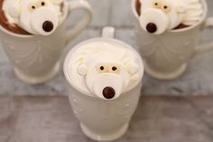 Make your Hot Chocolate even bolder with these adorable Marshmallow Polar Bears, no baking required for these festive treats! Chocolate Desserts, Melting Chocolate, Hot Chocolate, Christmas Goodies, Christmas Desserts, Marshmallow Face, Bigger Bolder Baking, Candy Eyeballs, Christmas Morning Breakfast
