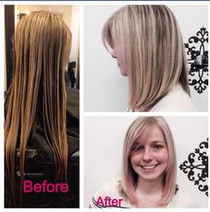 Before and after! Long hair to short! Blonde and pink