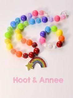 Check out Rainbow Chunky Bubblegum Bead Necklace and Bracelet Set, Rainbow Pendant, Rainbow Color Chunky Beads, Stretch Bracelet, Childrens Jewelry on hootandannee