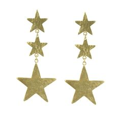 These impressive metal star earrings are the perfect accessory for an evening look. Star Earrings, Statement Earrings, Metal Stars, Christmas Ornaments, Holiday Decor, Gold, Free, Accessories, Christmas Jewelry