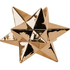 An eye-catching centerpiece for your dining room table or foyer console, this stylish ceramic decor features an icosahedron design and a polished chrome copp...