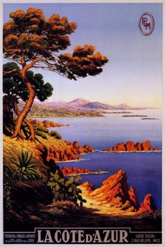 Vintage Cote D'Azur Toute Lannee French Travel Poster by made_in_atlantis Look at more Mediterranean beach coast resort riviera Posters at zazzle Vintage French Posters, Art Vintage, Vintage Travel Posters, French Vintage, Retro Poster, Poster S, Poster Prints, Art Prints, Art Deco Posters