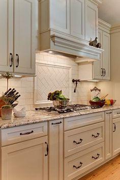 Teri Turan's Design pot filler, range hood, backsplash Kitchen Hoods, New Kitchen Cabinets, Kitchen Redo, Kitchen Ideas, Kitchen Counters, Soapstone Kitchen, Kitchen Island, Kitchen Designs, Laminate Countertops