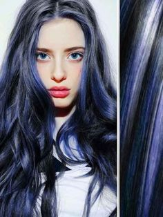 Protective style: colored weave and/or wig idea| Blue Highlights in Black Body Wave Hair