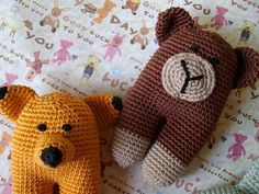 Your place to buy and sell all things handmade Crochet Animals, Crochet Toys, Knit Crochet, 3 Bears, Baby Toys, Little Ones, Bunny, Container, Delicate