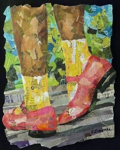 collage painter artist eileen downes torn paper sacramento california pink shoes