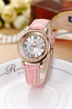 Cheap clock fashion, Buy Quality clock luminous directly from China clock women Suppliers: Lady Crystal Luxury Fashion Leather Quartz Watch Women Luminous Pointer Sand Beads Colorful Female Watches Montre Femme Clock Latest Watches, Women's Watches, Dress Watches, Rose Gold Watches, Quartz Watches, Casual Watches, Fashion Watches, Watch Women, Ladies Fashion
