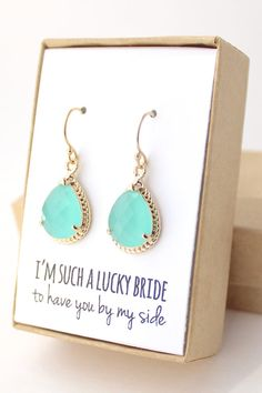 Mint Green/ Gold Bridesmaid Earrings  Mint Earrings by ForTheMaids, $24.00