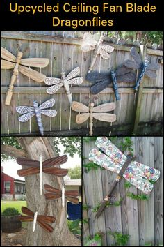 This Upcycled Ceiling Fan Dragonfly in Your Yard is Sure to Make Passers-by Take a Second Look
