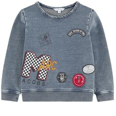 Little Marc Jacobs Boys Blue Grey Patched Sweatshirt