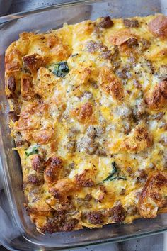 This overnight sausage, egg and croissant breakfast bake is the perfect way to start the day! It's delicious, filling and easy to prep!