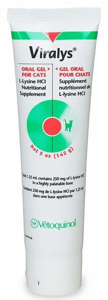 Viralys Gel is a lysine supplement gel for cats. Viralys is recommended as an aid in the treatment of Feline Herpes Virus. Feline herpes virus is an upper respiratory virus of cats. It is also known as rhinotracheitis virus. It is very common among cats, especially in environments where there are multiple cats or new cats are constantly interacting. The virus is spread through the air and replicates in the upper respiratory tract. The gel has a palatable flavor cats will love.