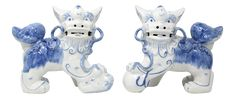 Vintage Blue and White Hand-Painted Foo Dog Figures - Set of 2