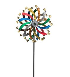Over six feet tall, this Solar Shooting Star Metal Wind Spinner with colorful metallic finishes is accented with solar-powered LED lights on its rotors' golden stars. This solar spinner's panel soaks up the sunlight by day to power the white LED lights at night. At night, the movement will create a crazy cool spin worth celebrating!