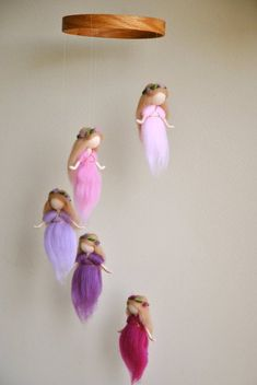 Waldorf Ispired needle felted mobile: the pink and purple colors of wool fairies (circle of natural wood or wrapped with wool)Waldorf inspired needle felt mobile: The pink and purple colors wool fairiesItems similar to needle Felt Crafts, Diy And Crafts, Crafts For Kids, Arts And Crafts, Wood Crafts, Felt Fairy, Waldorf Dolls, Fairy Dolls, Felt Dolls