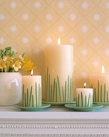 Grass embellishments for candles for baby shower or Easter
