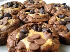 Peanut Butter Brownies...baked in muffin tin