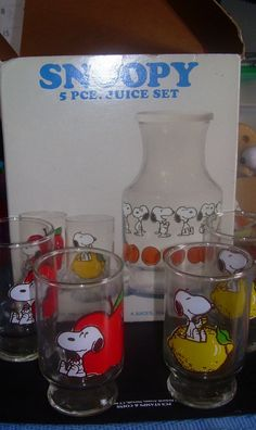 Vintage SNOOPY ANCHOR HOCKING 5 Piece Juice by ShopHereVintage, $50.00