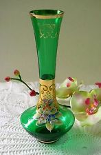 "Vintage Bohemian Venetian Czech Green Glass Enamel Flowers Gold Trim Bud Vase 8"""