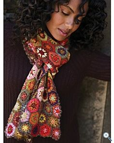 Haverhill Afghan/Granny Square Crochet Scarf from Garnet Hill