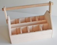 Wood Tool Box or Art Caddy - LARGE - Ready to Assemble, Woodworking Kit -  Organize with Movable Dividers