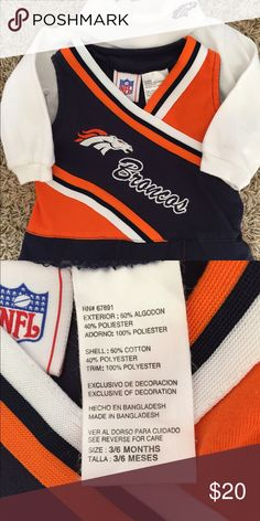 Baby girl Denver Broncos Cheerleader outfit No stains or tears, smoke and pet free home. Costumes Seasonal