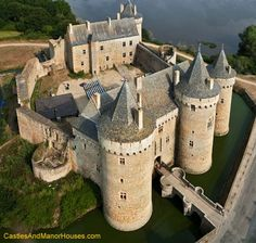 Château de Suscinio (or de Susinio), Sarzeau, Morbihan, Brittany, France    Built in the late Middle Ages as the residence of the Dukes of Brittany.     The Château de Suscinio dates from the beginning of the 13th century. It was enlarged at the end of 14th century, when the heirs of the duchy were fighting to keep their possessions (Brittany was not annexed by France until 1514).