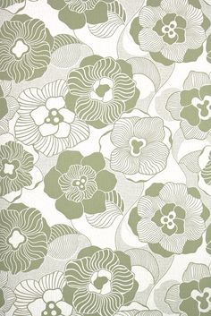 retro green floral on beige, vintage wallpaper from Hannah's Treasures Surface Pattern Design, Pattern Art, Print Patterns, Retro Styles, Retro Wallpaper, 1970s, Phones, Backgrounds, Tapestry